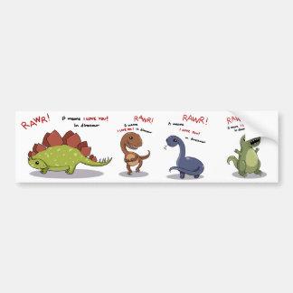 Rawr bedeutet i-Liebe Sie im Dinosaurier Autoaufkleber