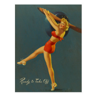 Ready to Take Off PinUp Postkarte