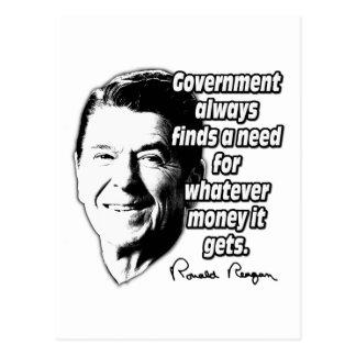 Reagan-Zitat-Regierungs-Geld Postkarte