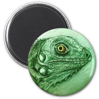 Realistische grüne Reptilkunst runder Magnet -