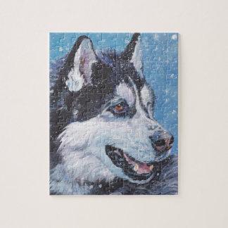 realistische Husky-HundeKunst-Malerei Puzzle