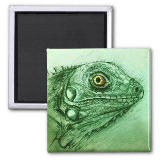 Realistischer grüner Reptilkunst Quadrat-Magnet - Quadratischer Magnet
