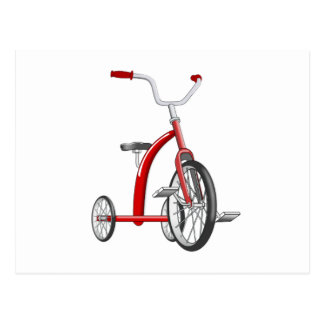 Realistisches rotes Dreirad Postkarte