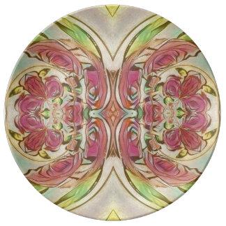 Reben und rosa Rosenplatte Teller