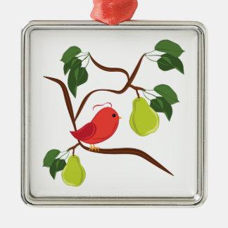 Rebhuhn im Birnen-Baum Silbernes Ornament
