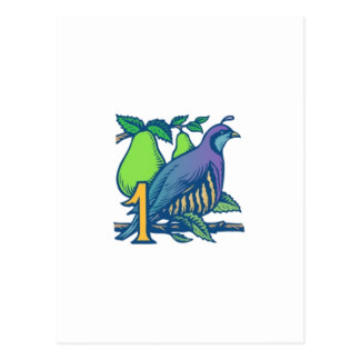 Rebhuhn in einem Birnen-Baum Postkarte