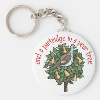 Rebhuhn in einem Birnen-Baum Standard Runder Schlüsselanhänger