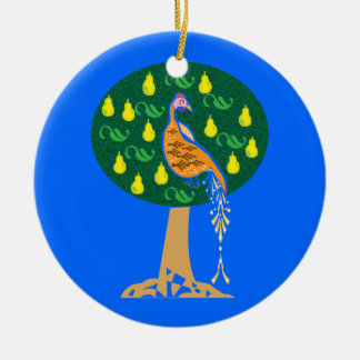 Rebhuhn in einem Birnenbaum Keramik Ornament