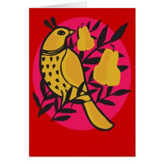 Rebhuhn in einer Birnen-Baum-Karte Karte