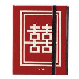 Rechteck-doppeltes Glück-rote chinesische Hochzeit Etui Fürs iPad