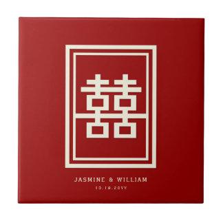 Rechteck-doppeltes Glück-rote chinesische Hochzeit Fliese