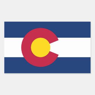 Rechteckaufkleber mit Flagge von Colorado, USA Rechteckiger Aufkleber