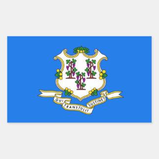 Rechteckaufkleber mit Flagge von Connecticut, USA Rechteckiger Aufkleber