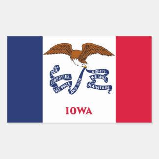 Rechteckaufkleber mit Flagge von Iowa, USA Rechteckiger Aufkleber