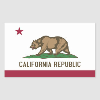 Rechteckaufkleber mit Flagge von Kalifornien, USA Rechteckiger Aufkleber