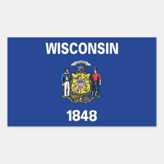 Rechteckaufkleber mit Flagge von Wisconsin Rechteckiger Aufkleber