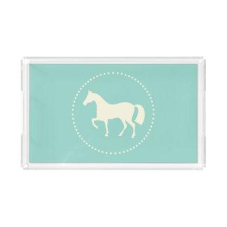 Rechteckiger Behälter der Pferde-/Pony-Silhouette Acryl Tablett