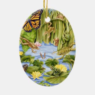 Rechteckiger Frosch Ovales Keramik Ornament