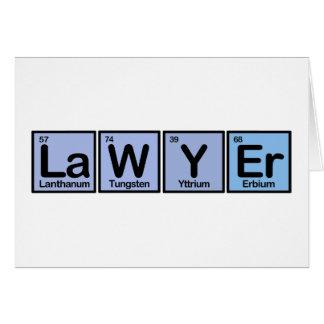 Rechtsanwalt gemacht von den Elementen Karte