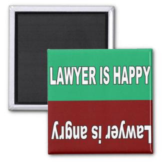 Rechtsanwalt ist glücklicher und verärgerter quadratischer magnet