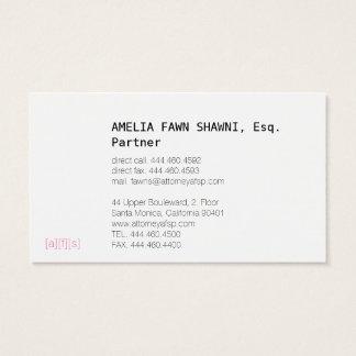Rechtsanwalts-rosa schwarzes Silber Visitenkarte