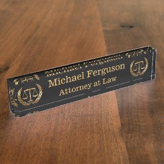 Rechtsanwalts-Skalen des Gerechtigkeits-Schwarzen Schreibtischplakette