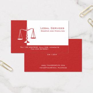 Rechtsanwalts-Skalen von Gerechtigkeit Visitenkarte