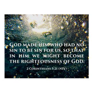 Rechtschaffen Korinther-5:21 Schrifts-der Kunst Postkarte