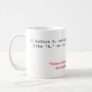 Rechtschreibungs-Regeln: I vor E Kaffeetasse