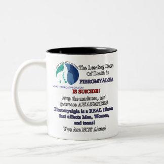 Rechtshändige Kaffee-Tasse - Fibromyalgia u. Zweifarbige Tasse