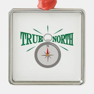 Rechtweisend Nord Quadratisches Silberfarbenes Ornament