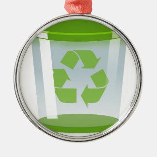 Recyceln Sie Behälter Silbernes Ornament