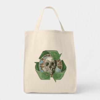 Recyceln Sie oder die Schädel Einkaufstasche