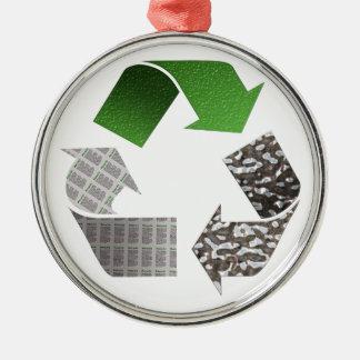Recyceln Sie Silbernes Ornament