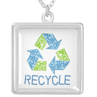 Recyceln Sie Symbol-Halskette Versilberte Kette
