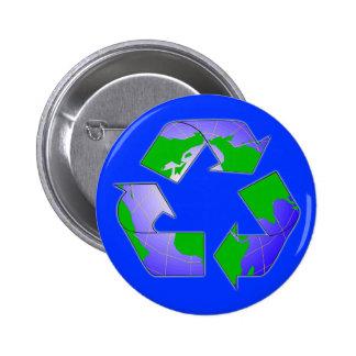 Recyceln Sie Symbol mit Erdknopf Runder Button 5,1 Cm