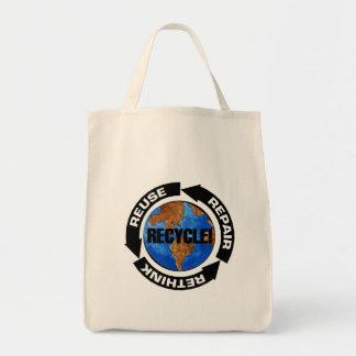Recyceln Sie und denke ökologisch-Tasche Tragetasche
