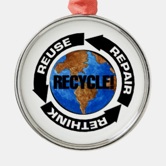 Recyceln Sie Welt Silbernes Ornament