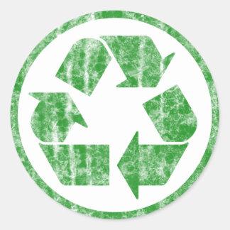 Recyceln, um die Planeten-Erde, Symbol zu retten Runder Aufkleber