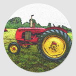 Red and Yellow Farm Tractor Stickers