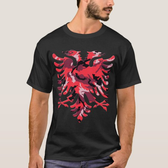 Red Camo Albanian Eagle 3D T-Shirt
