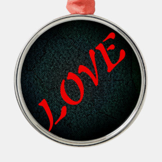 Red Love Rundes Silberfarbenes Ornament