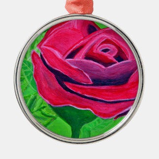 Red Rose2 Silbernes Ornament
