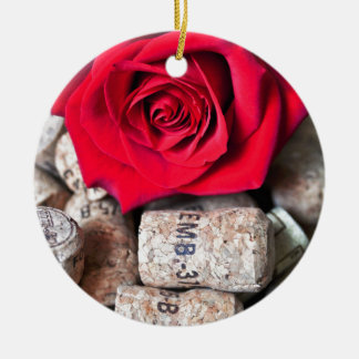 RED ROSE with cork Keramik Ornament