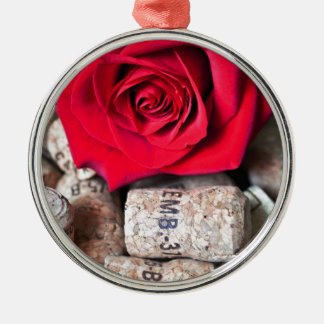 RED ROSE with cork Silbernes Ornament