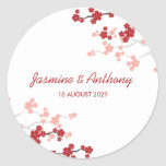 Red Sakuras 2 Custom Favor Thank You Label Sticker