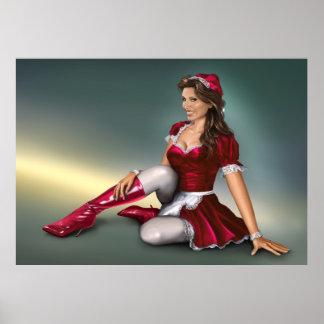 Red Santa Girl Poster