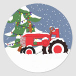 Red Tractor Envelope Seal Christmas Sticker
