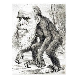 Redaktioneller Cartoon von Charles Darwin 1871 Postkarte