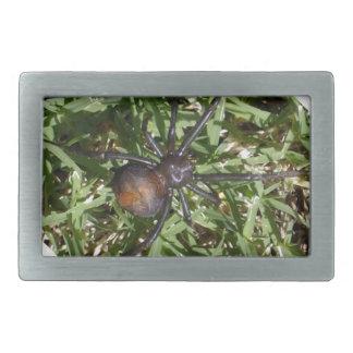 Redback-Spinne auf grünem Gras, Rechteckige Gürtelschnalle